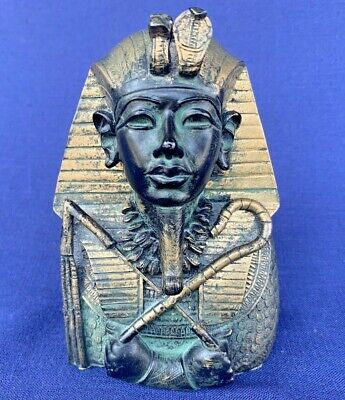 Vintage Collectible Handcarved Ancient Egyptian Head Figurine King Tutankhamun