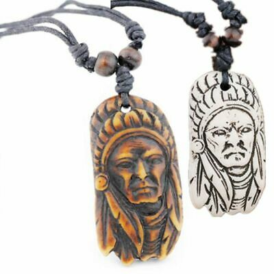 Vintage Mens Native American Indian Chief Artifact Bone Pendant Necklace Beads
