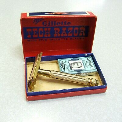 Vintage Gillette 1946 Contract TECH Double Edge Safety Razor in Box w Blades