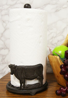 Cast Iron Rustic Holstein Cow With Scroll Art Kitchen Paper Towel Holder Stand