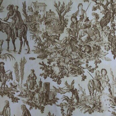 French TOILE DE JOUY Print Cotton Canvas Upholstery FABRIC Quilting Curtains