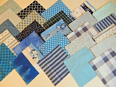 "Shades Of Blue Prints Fabric Quilting Squares Charm Pack 5"" Blocks 100 pieces"