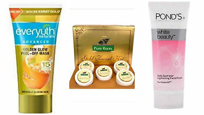 100g pureroots gold facial kit,50g ponds white beauty facewash,30g everyuth mask