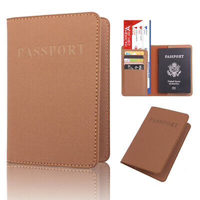 Faux Leather Travel Passport Holder Cover ID Card Ticket Pouch Bag Solid Eyeful