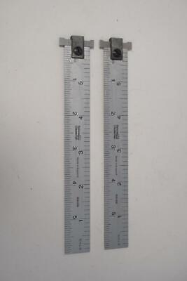 """2 New Old Stock Rabone Chesterman 6"""" Hook Rulers 8ths, 16ths, 32nds, 64th. UK"""
