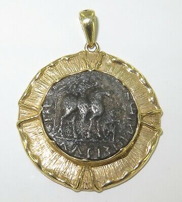 .Superb 14K Gold Ancient Coin Pendant Coa 35Bc -  5Ad Azes Ii Silver Tetradrachm