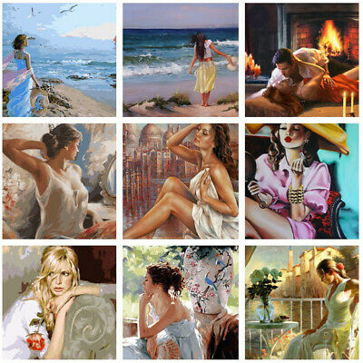 DIY Beauty Women Paint By Numbers Kit Acrylic Oil Painting Art Wall Home Decor