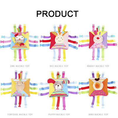 Multicolor Baby Animals Cartoon Soft Plush Buckle Toy With Bell Educational Toy