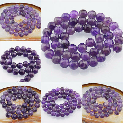 Grade A Natural Amethyst Gemstone Round Beads 3mm 4mm 6mm 8mm 10mm 12mm 16""