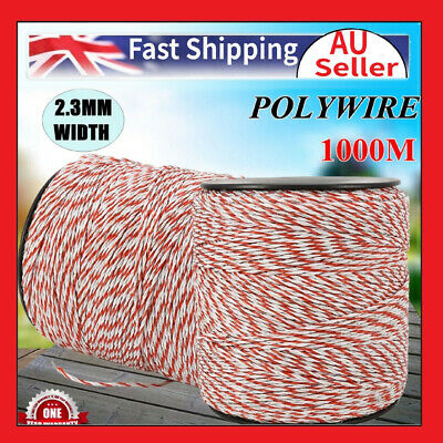 1000m Roll Polywire Electric Fence Rope Fencing Poly Tape Farm Grazing Control