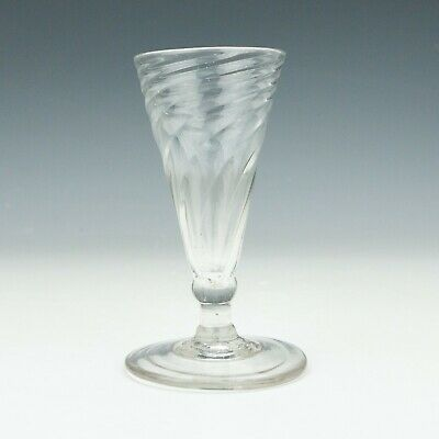 Antique English Victorian Glass - Wrythen Formed Ale Glass - Unusual!