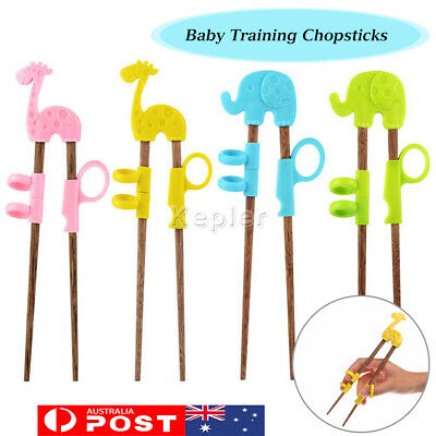 Baby Training Chopsticks Kids Wooden 1 Pair with Box Learning Reusable Chopstick
