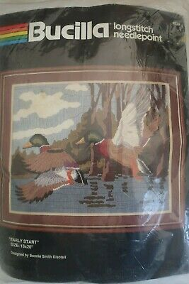 BUCILLA longstitch needlepoint EARLY START ducks on lake KIT canvas wool 16 x 20