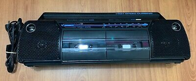 GE Stereo Radio Dual Cassette Player High Speed Tape Dubbing Boombox AM/FM