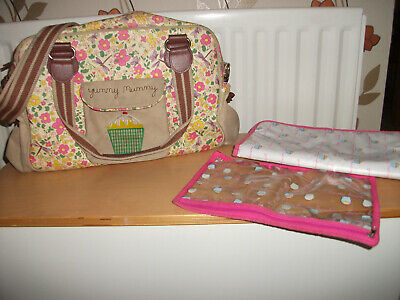 Pink Lining YUMMY MUMMY Baby Changing Nappy Bag Floral Print Mat & Zip Bag