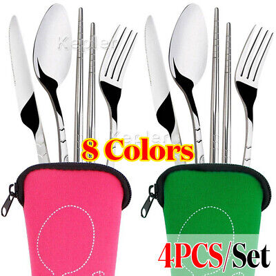 4 Pcs Cutlery Travel Knife Fork Portable Bag Stainless Steel Spoon Chopstick AU