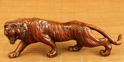 Asian FINE old boxwood hand carved tiger statue netsuke collectable decoration