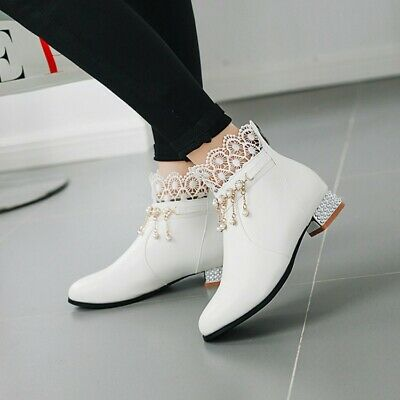 Womens Fashion Lace Beads Tassels Pull On Sweet Block Low Heel Ankle Boots Shoes