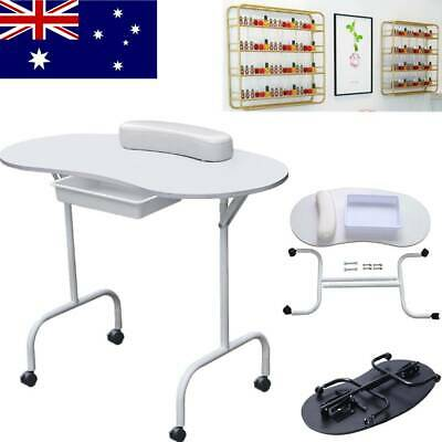Manicure Nail Table Station Fordable Nails Desk with Hand Cushion Slide-out Draw
