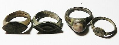 Zurqieh - As13992- Ancient Holy Land . Lot Of 4 Rings. Crusader Era. 1200 A.d