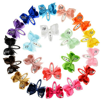10X Girls kids Baby bow hair clips sides snaps bobbles hair accessories hairpin