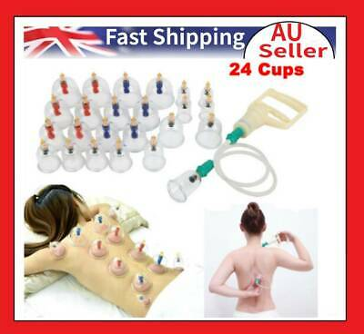 24Cups Chinese Vacuum Cupping Set Suction Acupuncture Massage Body Pain Therapy