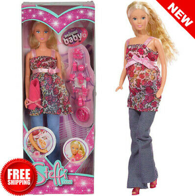 Steffi Love Barbie Girl Pregnant Doll Toy, Removable Tummy Baby + 13 Accessories