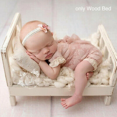 Newborn Mini Wood Bed Detachable Wooden Photography Photo Props For Shoot