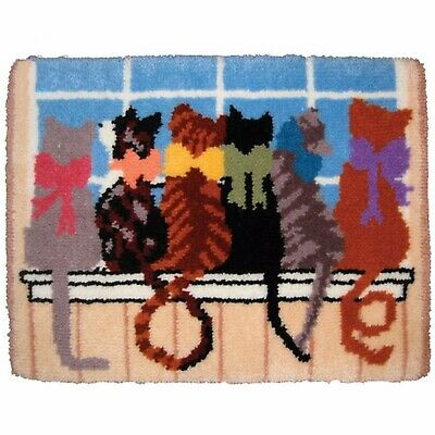 Cat Tails Of Love Latch Hook Rug Kit, Brand New