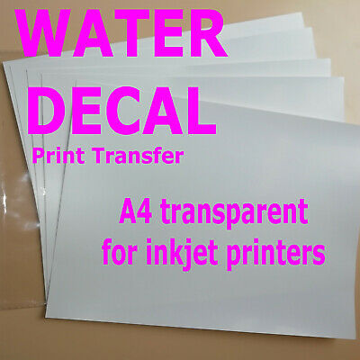 5 Sheets A4 Inkjet WaterSlide Decal Paper Transparent,clear water print transfer