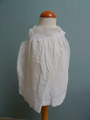 Antique Pinafore Pinny Young Girls Victorian White Cotton Embroidered c1890