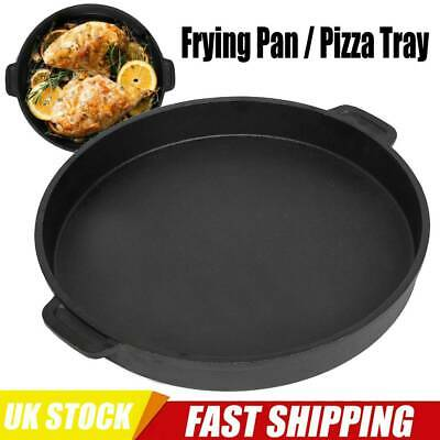 Large Cast Iron Skillet Round Cooking Frying Pan Kitchen Skillet Deep Pizza Pan