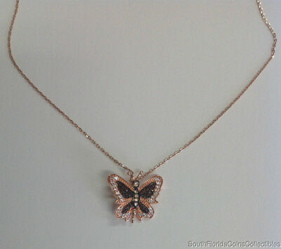 Estate Jewelry Cubic Zirconia Butterfly Necklace Rose Gold over Sterling Silver