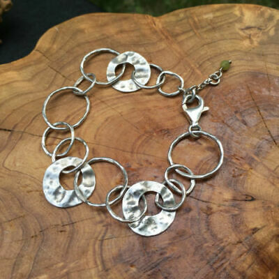 Silpada Sterling Silver Hammered Circle Paper Chain Bracelet B1217 Signed