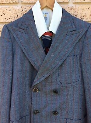 VINTAGE 1970s Retro Mens Grey Pinstripe Jacket Made In Spain Size S Good.Cond