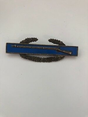 MILITARY RIFLE Blue Enamel Sterling Silver Award Combat Double Pin Badge