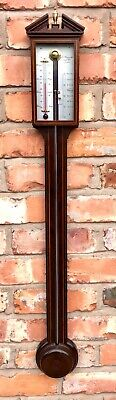 Antique Style Inlaid Mahogany Stick Barometer signed O. COMITTI and SON LONDON