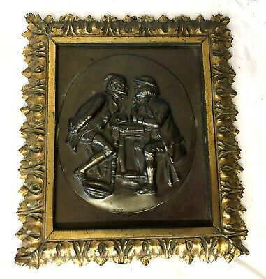 Bronze Finish Plaque depicting Card Players Card Sharks in Gilt Frame Signed WTW