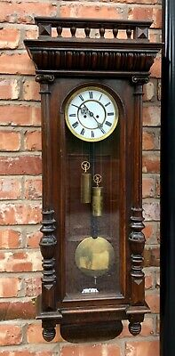Antique Double Weighted Walnut Vienna Wall Clock REMEMBER G.V.R.M. Co dil08