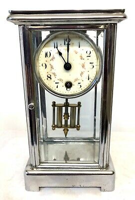 Antique Miniature 4 Glass Clock Timepiece With Chrome Finish Case