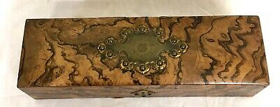 Antique Burr Walnut Glove Box BAGSHAW & SONS LIVERPOOL & Glove Stretcher