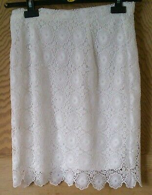 """Ladies Skirt White Size 12 Lace Length 21"""" Bnwt Lined Fashion Classics Evening F"""