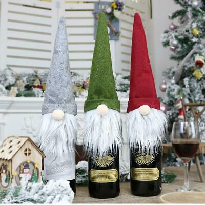 Christmas Wine Bottle Cover Faceless Long Hat Doll Champagne Xmas Decoration Bag