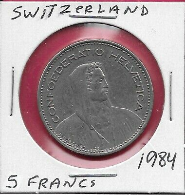 Switzerland 5 Francs 1984 Xf William Tell Right,Cross On Shield Flanked By Sprig