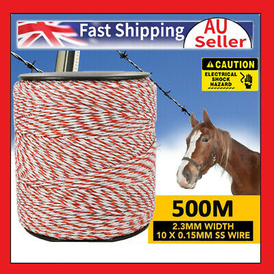 500M Roll Electric Fence Fencing Polywire Kit 2.3mm Stainless Poly Wire Rope Hot