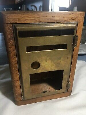 woodin box with hinged incomplete  post office  brass door