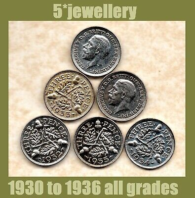 50% silver 3d Three Pence coins George 5th 1930 - 1936 Grade Good to UNC