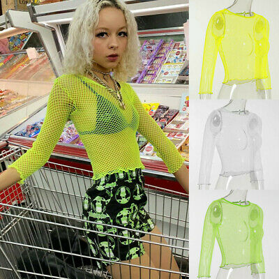UK Women Sheer Mesh Fish Net Long Sleeve Crew Neck See Crop Top T-Shirt Blouse