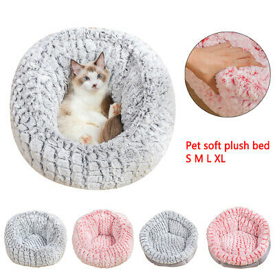 Washable Cushion Warm Pets Faux Fur Luxury Dog Bed Red/Grey Puppy Cat Soft