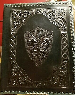 Vintage Hand Tooled Leather Embossed Journal/Book Cover - Fleur De Lis - Green